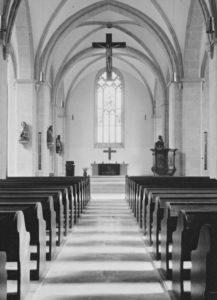 Kirche, Blick zum Altar, Foto: Ernst Witt, Hannover, Oktober 1968