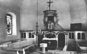 Kirche, Blick zum Altar, um 1953, Postkarte