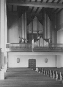 Kirche, Blick zur Orgel, Foto: Ernst Witt, Hannover, Mai 1958