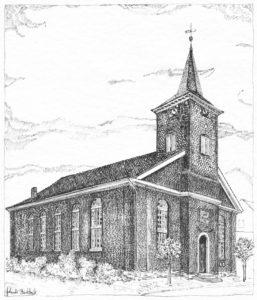 Kirche, Ansicht von Nordosten, Zeichnung von Gerlinde Buddoick