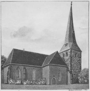Kirche, Ansicht von Nordosten, Zeichnung von Herbert Kattentidt, 1940