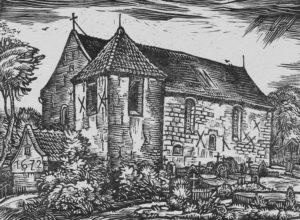 Kirche, Ansicht von Südwesten, Linolschnitt (?), um 1955
