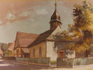 Kirche, Ansicht von Nordwesten, um 1980, Gemälde