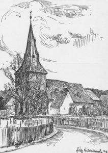 Kirche, Ansicht von Südwesten, Zeichnung von H. Hildebrandt, 1940