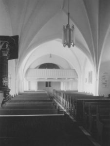 Kirche, Blick zur Westempore, Foto: Ernst Witt, Hannover, Juli 1955