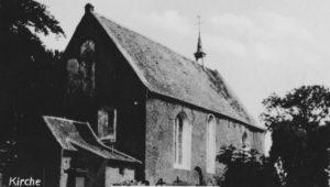 Kirche, Ansicht von Südwesten, Foto: Effner, Dornum, vor 1957