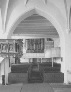 Kirche, Blick zur Orgel, Foto: Ernst Witt, Hannover, März 1961