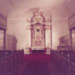 Neue Kirche, Blick zum Altar, 1985