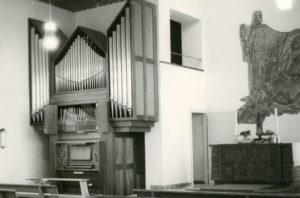 Kirche, Blick zum Altar, nach 1969 (1968/69 Orgelneubau)
