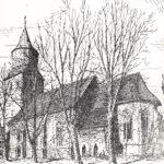 Kirche, Ansicht von Südosten, vor 1957, Zeichnung