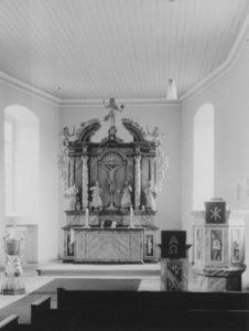 Kirche, Blick zum Altar, Foto: Ernst Witt, Hannover, Oktober 1965