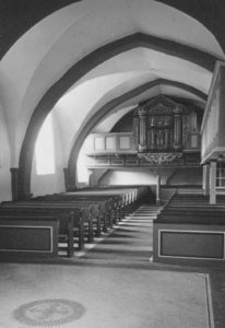 Kirche, Blick zur Orgel, Foto: Ernst Witt, Hannover, Juli 1958