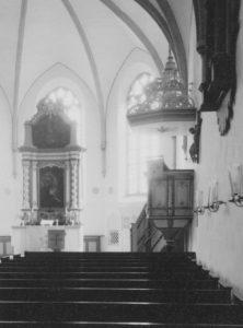 Kirche, Blick zum Altar, Foto: Ernst Witt, Hannover, August 1962