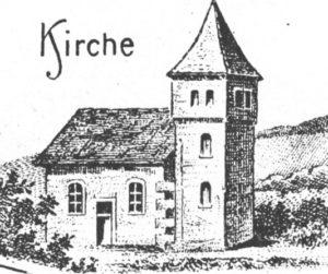 Kapelle, Ansicht von Nordwesten, um 1900, Postkarte