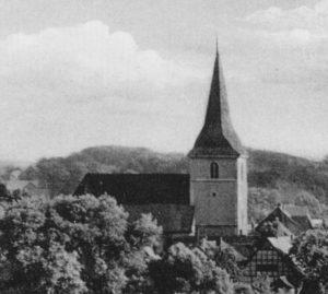 Kirche, Ansicht von Nordwesten, Luftbild, 1948