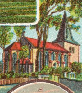 Kirche, Ansicht von Nordosten, um 1900, Postkarte (Ausschnitt), Lith. Kunst-Anstalt Willy Hoehl, Hannover
