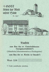 """""""Baustein zum Bau der ev. Kirche in Oesede"""", vor 1956"""