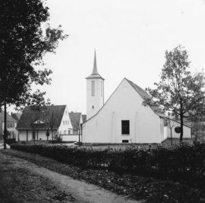 Kirche, Ansicht von Nordwesten, November 1958