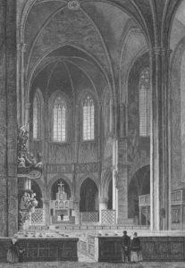 Kirche, Blick zum Altar, vor 1901, Stahlstich von Joh. Poppel, gezeichnet von L. Rohbock