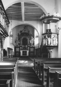 Kirche, Blick zum Altar, Foto: Ernst Witt, Hannover, 1964