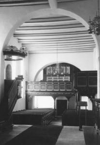 Kirche, Blick zur Orgel, Foto: Ernst Witt, Hannover, 1964