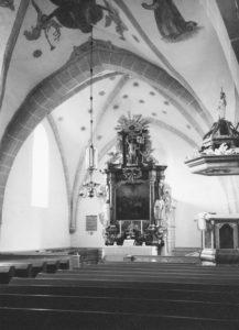Kirche, Blick zum Altar, Foto: Ernst Witt, Hannover, 1961