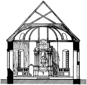 Ehemalige Kapelle, Querschnitt, Blick zum Altar, vor 1902