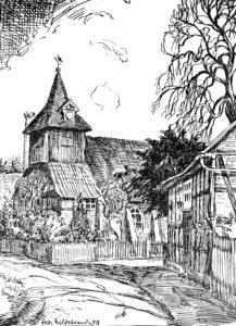 Kirche, Ansicht von Südwesten, Teilansicht, 1939, Zeichnung von Fritz Hildebrandt