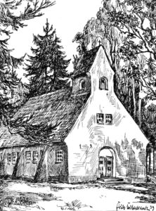 Kapelle Unterlüß, Außenansicht, 1939, Zeichnung von Fritz Hildebrandt