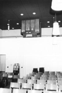 Gemeindezentrum, Kirchsaal, Blick zur Orgel, nach 1967
