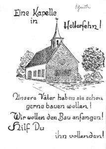 Kirche, Ansicht von Nordwesten, Entwurf (in dieser Form nicht ausgeführt), Grafik, vor 1960