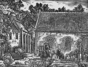 Kirche, Ansicht von Süden, Teilansicht, um 1955, Grafik