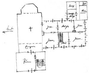 Kirche (links) und Pfarrhaus (rechts), Grundriss, Skizze, 1938