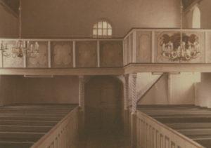 Kirche, Blick zur West-Empore, nach Juli 1954