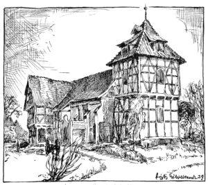 Kirche, Ansicht von Nordwesten, 1939, Zeichnung von Fritz Hildebrandt