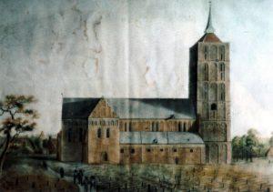 Kirche, Ansicht von Norden, Aquarell von van Lengen, 1819