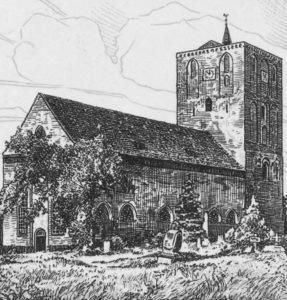 Kirche, Ansicht von Nordosten, Zeichnung, nach 1831, vor 1964
