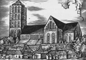 Kirche, Ansicht von Südosten, Holzschnitt von A. Depser