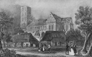 Kirche, Ansicht von Südosten während der Abbrucharbeiten 1829, Grafik nach einer Zeichnung von August von Halem