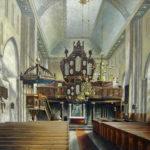 Kirche, Blick zum Altar und zur Orgel, 1930, Gemälde
