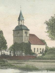 Kirche, Ansicht von Südwesten, um 1900, Grafik