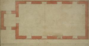 Kirche, Langschnitt (unten), Querschnitt (oben), Entwurf für die neue Kirche mit Turm (Turm nicht ausgeführt), aquarellierte Zeichnung, um 1779