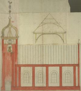 Kirche, Grundriss, Entwurf für die neue Kirche mit Turm (Turm nicht ausgeführt), aquarellierte Zeichnung, um 1779