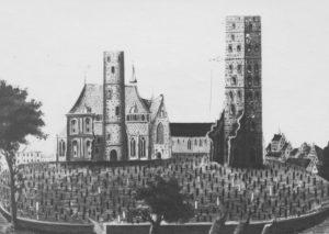 Blick von Norden auf Ludgeri-Kirche (im Hintergrund), davor am rechten Bildrand Turm der St. Andreas-Kirche (1531 zerstört), Foto von einem Gemälde