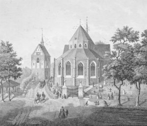 Kirche, Ansicht von Nordosten, 1860, Lithografie nach einer Zeichnung von G. Kistenmacher
