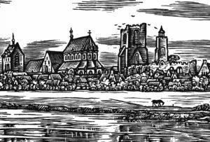 Ludgeri-Kirche, Ansicht von Südosten (am linken Bildrand), rechts vom Chor der Ludgeri-Kirche Turm der St. Andreas-Kirche (1531 zerstört), Holzschnitt von A. Depser nach einer Zeichnung, um 1700