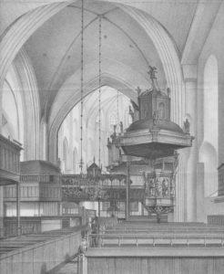 Kirche, Blick vom Kirchenschiff in den Chor, um 1859, Lithografie
