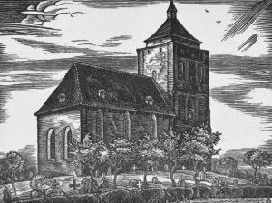 Kirche, Ansicht von Nordosten, Schnitt von A. D., vor 1970