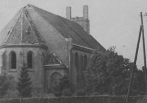 Zerstörte Kirche, Ansicht von Nordosten, vor 1948