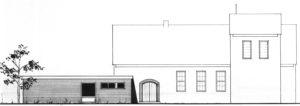 Kirche (rechts) mit Anbau Gemeindehaus (links), Ansicht von Osten, 1974, Grafik, Entwurf Anbau Gemeindehaus